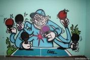Банскалия изрисува стените на залата на тенис клуб