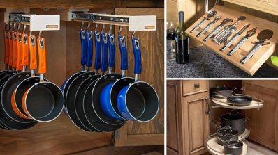 Практични шкафове и чекмеджета в кухнята