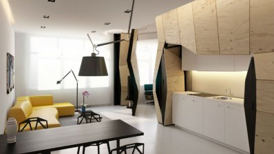 Трансформиращ се мултифункционален апартамент с подвижни прегради