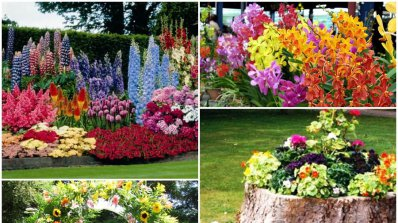 Ефектни градински декорации с изкуствени цветя