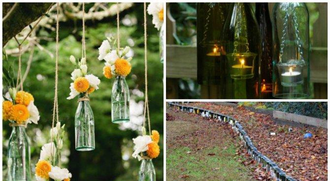 Практични приложения на празни бутилки в градината