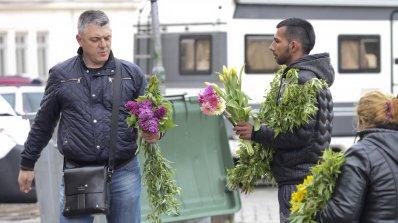 Цигани въртят бизнес с върбови клонки в центъра на София (снимки)