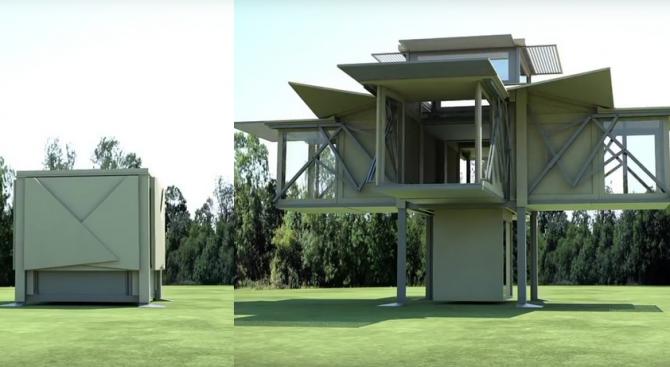 Създадоха къща-хармоника, самосглобяваща се за 8 минути (видео)