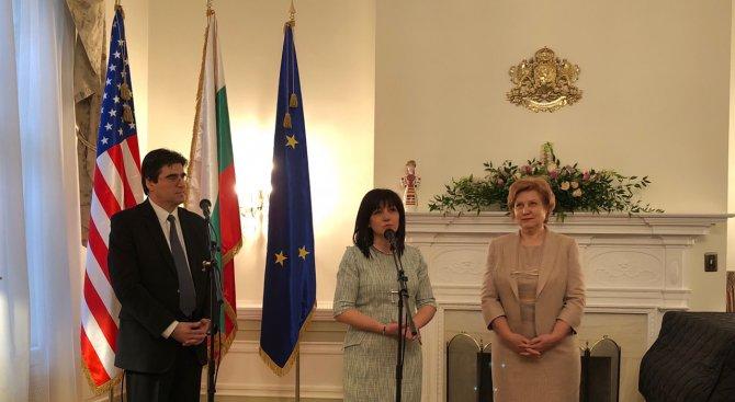 Цвета Караянчева пред българи в САЩ: Ще поставя въпроса за визите за български граждани за САЩ