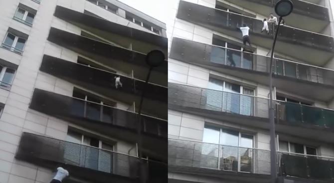 Имигрант спаси дете, висящо от тераса (видео)