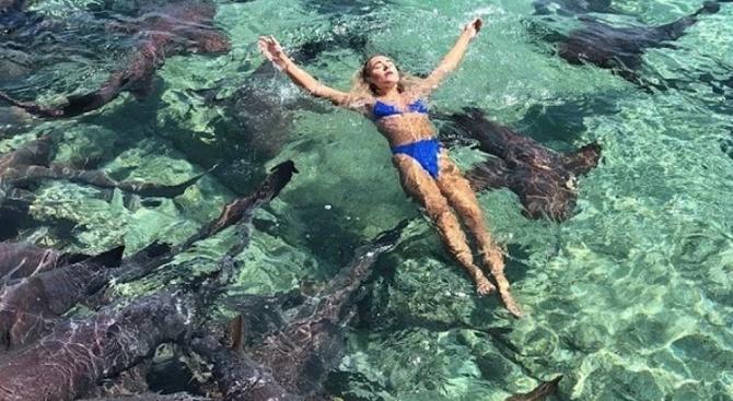 Акула нападна модел по време на фотосесия (видео)