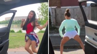 Ново опасно предизвикателство: Младежи танцуват до колата в движение (видео)