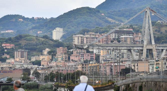 """Мостът """"Моранди"""" в Генуа, част от който рухна вчера, е"""