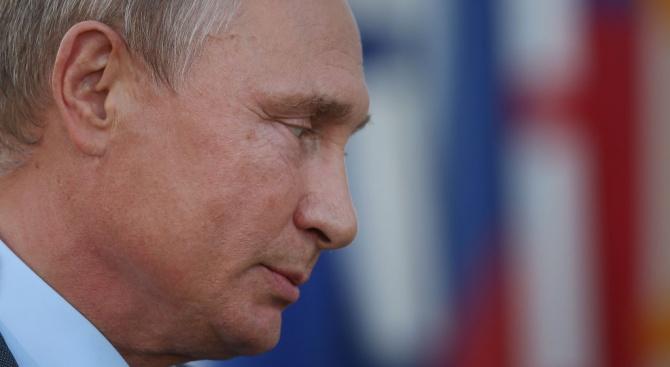"""Президентът на Русия Владимир Путин, шефът на """"Сбербанк"""" Герман Греф"""
