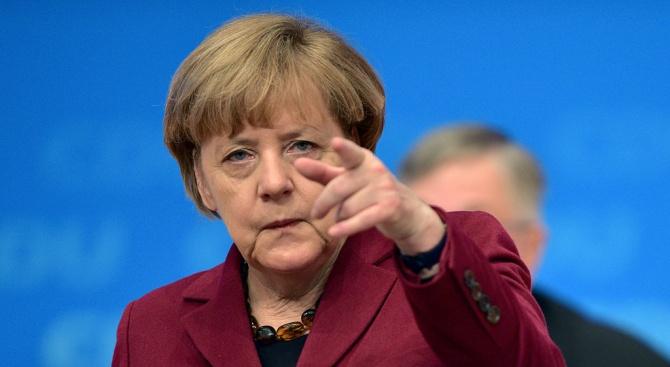 Германският канцлер Ангела Меркел и лидерите на партиите от коалиционното