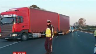 """Пожар на сметище затвори магистрала """"Тракия"""", има верижна катастрофа с ранени"""
