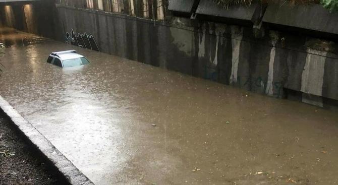 """Наводнен е тунелът под Лъвов мост в посока бул. """"Христо"""