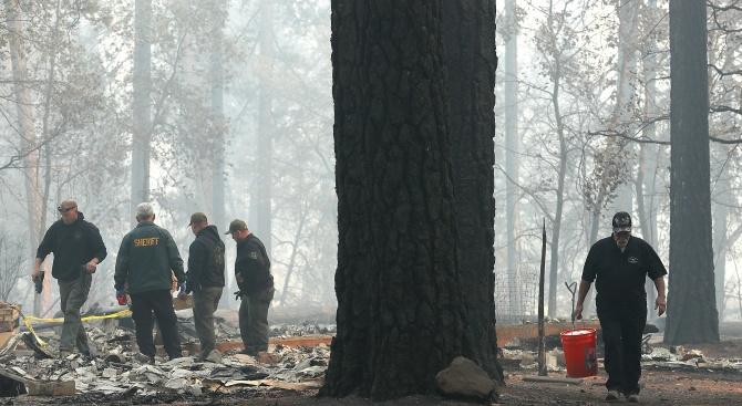Броят на загиналите при пожара в Северна Калифорния достигна 42