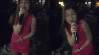 Крисия пее чалга под дъжд от салфетки (видео)