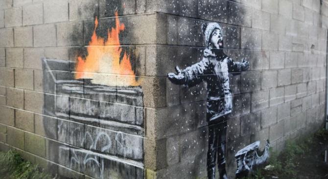 Снимка: Творба на Банкси за замърсяването на въздуха беше продадена за над 100 000 лири