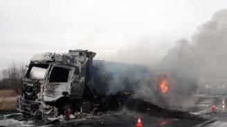 """Турски ТИР пламна на магистрала """"Марица"""" (снимки)"""