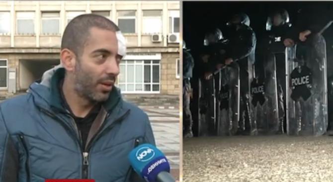 Журналист с разбита глава след сблъсъците в Габрово, протестиращите освиркали Томислав Дончев
