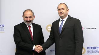 Румен Радевобсъди перспективите заувеличаване на регионалната свързаност с арменския премиер
