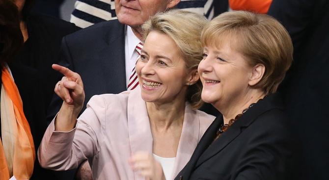 Германската канцлерка Ангела Меркелприветства избирането днес на министърката на отбраната
