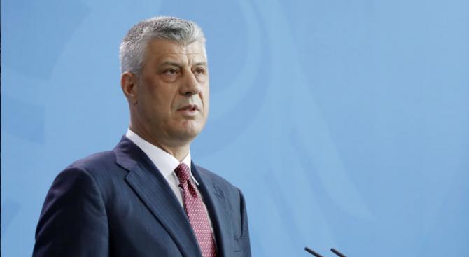 Президентът на Косово Хашим Тачи изрази съжаление за оставката на
