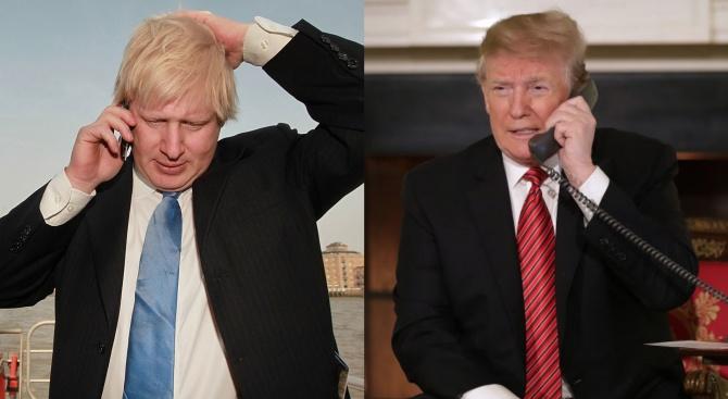 Американският президент Доналд Тръмп и британският премиер Борис Джонсън обсъдиха