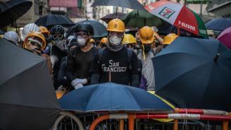 Маскирани участници в протестите в Хонконг дадоха пресконференция