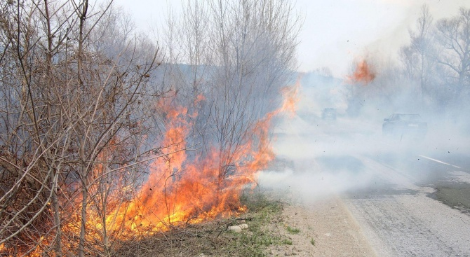 """Горят сухи треви край автомагистрала """"Струма"""" в района на отбивката"""