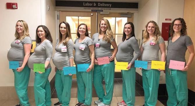 Деветте медицински сестри, които забременяха по едно и също време,