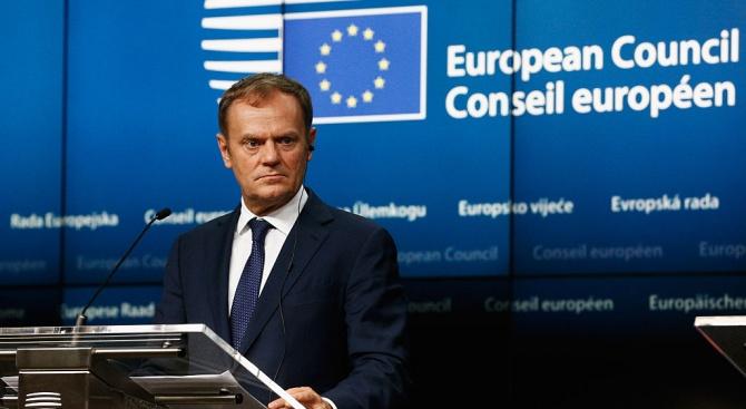 Председателят на Европейския съвет Доналд Туск заяви днес, че изпратеното