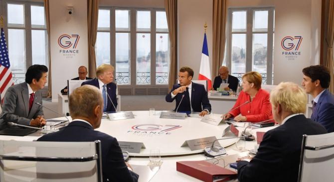 Вечерята на лидерите на страните от Г-7 снощи е била