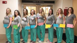9 медицински сестри родиха по едно и също време