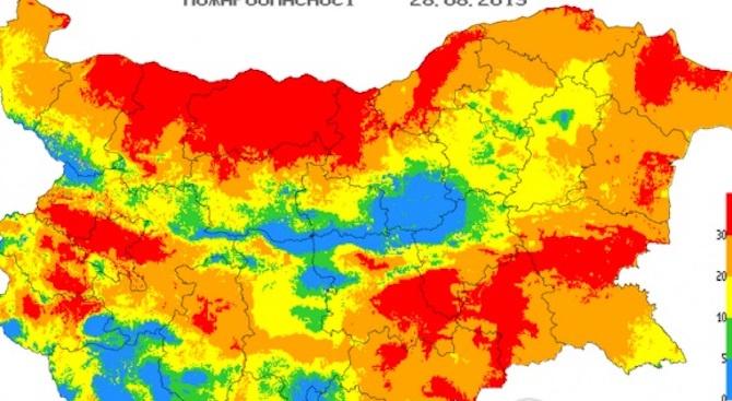 Опасност от пожари в 21 области на страната за утре
