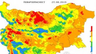 Опасност от пожари в 14 области на страната за утре