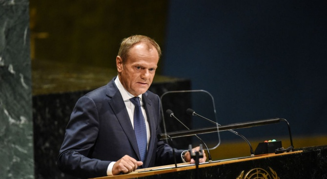 В последното си изказване в ООН Туск се противопостави на тезите на Тръмп