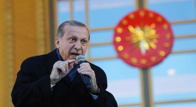 Турският президент Реджеп Тайип Ердоган заяви вчера, че Съединените щати