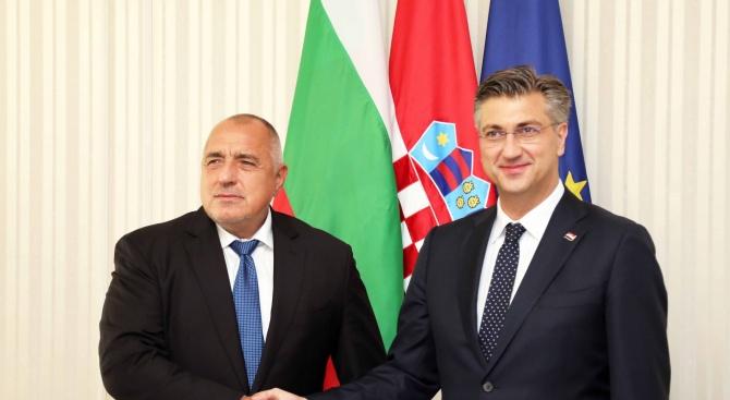Министър-председателят Бойко Борисов поздрави хърватския премиер Андрей Пленкович за добрата