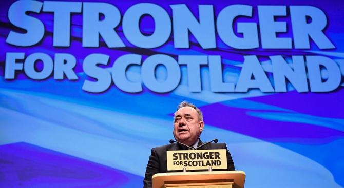 Бившият премиер на Шотландия Алекс Салмънд днес се е появил