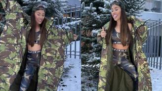 Гери-Никол се разголи в снега