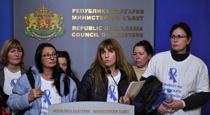 Протестиращите медицински сестри се срещнаха с Младен Маринов