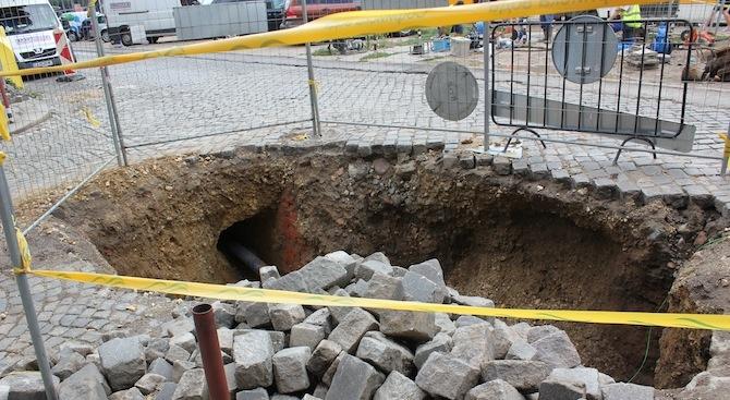Временна организация на движението за изграждане на уличен водопровод в София