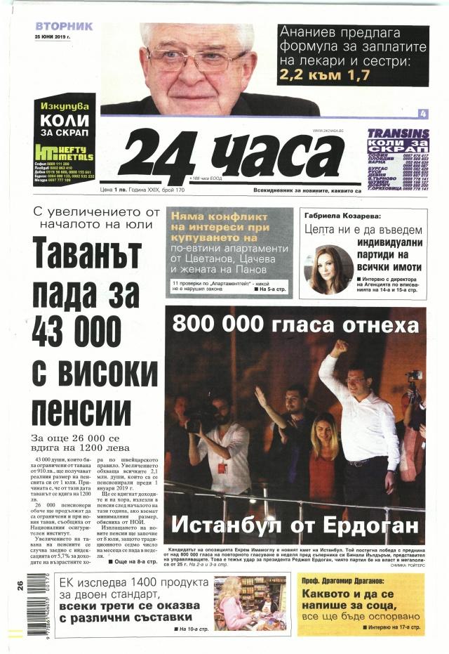 24 часа: Таванът падат за 43 000 с високи пенсии